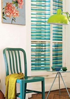 Colorize your window blinds with washi tape