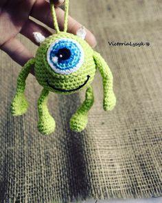 Mike Wazowski, Monster's Corporation #handmade #handmade_by_victorialysyk #crochet #knitting #amigurumi #crochettoys #mikewazowski Crochet Gifts, Cute Crochet, Crochet Dolls, Knit Crochet, Crochet Monsters, Crochet Animals, Tsumtsum, Rabbit Toys, Bear Toy