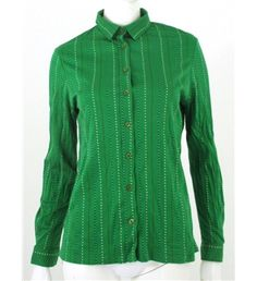 Jaeger Vintage 1970's Shamrock Green Cotton Shirt With Blue And Red Decorative Stripe Detailing