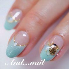 Nails Design Summer Beach Teal 48 Ideas - The most beautiful nail designs Beach Nail Designs, Nail Art Designs, Nails Design, Beach Nail Art, Beach Design, Sea Nails, Mermaid Nails, Manicure E Pedicure, Nagel Gel