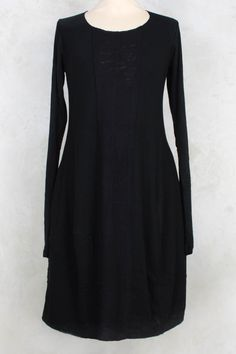 Long Sleeve Dress with Raw Edging in Vulcano - Rundholz Black Label