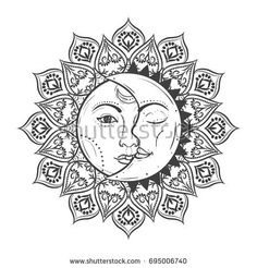 Sun eclipse concept. Vector illlustration of astronomy and astrology symbol. Vintage, Boho or gypsy style.