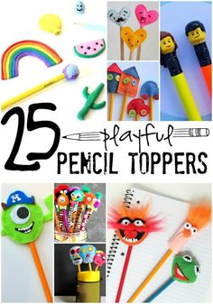 25 Playful Pencil Toppers for Kids. Make their pencils personal with these fun and playful pencil toppers. Click now!