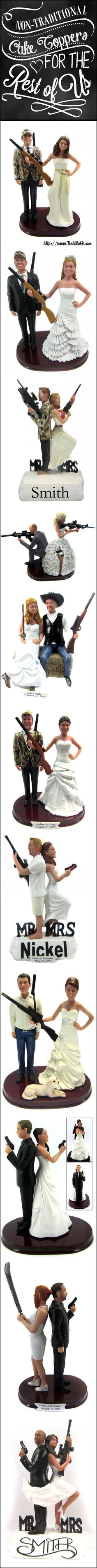 Let BobbleGr.am create a one-of-a-kind hunting themed cake topper complete with your choice of camouflage pattern - sculpted to look like the bride and groom!  Our toppers feature realistic looking rifles, shot guns, AR-14, tactical pistols and other weapons.  Perfect for shooting enthusiasts, sports fans and military personnel.  Our toppers are custom sculpted based on your photos to look like the bride and groom.