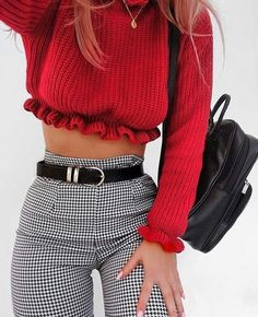 Red sweater crop top with ruffled hem and high waisted plaid striped pants and black skinny belt & Black mini backpack Edgy Outfits, Trendy Winter Outfits, Outfits For Concerts, Boohoo Outfits, Hipster Girl Outfits, Winter Ootd, Nice Outfits, Colourful Outfits, Fall Outfits