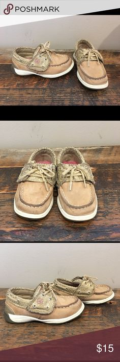 Sperry Gold Velcro sz 7C Great little pair of Sperry boat shoes with speckled gold accents. Have a small tear that is barely noticeable, this the low price. This is pictured. Toddler size 7. Please check out my closet for more awesome kids shoes! Bundle for a discount and save on shipping! 😎 Sperry Shoes
