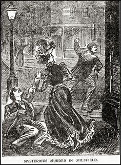 "The Illustrated Police News ""Mysterious murder in Sheffield"" Victorian London, Victorian Era, Victorian Artwork, Police News, Victorian Illustration, Edwardian Era, Old School, City Photo, Retro Vintage"