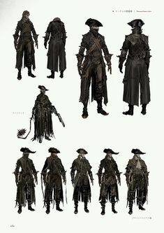 View an image titled 'Yharnam Hunter Attire Art' in our Bloodborne art gallery featuring official character designs, concept art, and promo pictures. Bloodborne Concept Art, Bloodborne Outfits, Fantasy Character Design, Character Design Inspiration, Character Concept, Character Art, Bloodborne Characters, Fantasy Characters, Deadshot