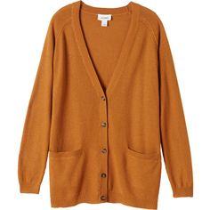 Monki Martha cardigan ($16) ❤ liked on Polyvore featuring tops, cardigans, outerwear, jackets, sweaters, oxidised ochre, cardigan top, longline tops, brown cardigan and brown top