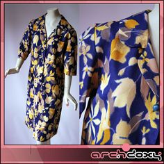 Vintage 1950s Printed Navy Water Colour Fade Button Front Patch Pocket Dress #vintagedress  http://www.ebay.co.uk/itm/Vintage-1950s-Printed-Navy-Water-Colour-Fade-Button-Front-Patch-Pocket-Dress-14-/371630571635