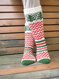 Long Hand Knit Socks Red White Green Socks Christmas Socks