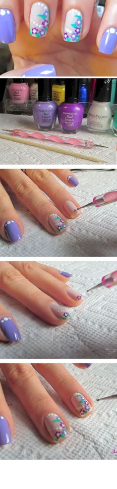 Purple Flowers | Click Pic for 16 Easy Easter Nail Designs for Short Nails | DIY Nail Art for Teen Girls