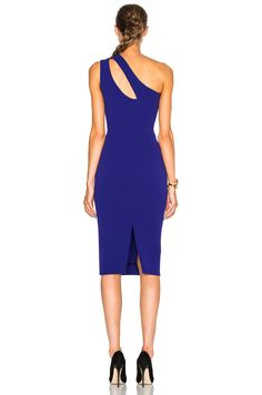 Victoria Beckham Matte Crepe On Shoulder Fitted Cut Out Dress in Deep Cobalt   FWRD