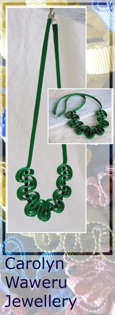 Emerald green grosgrain ribbon necklace, folded and hand stitched with black glass beads. hk$24