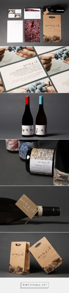 Via Serifs & Sans Charming Packaging Design for Wenzel by Moodly Brand Identity and Zachary Kutz curated by Packaging Diva PD. With inspiration from handcraft, the harvest, and the calmness of nature the Corporate Design was grown. Labels show more than just the grape.they bear a handwritten lettering symbolising the human interaction, and the special wines bear a picture of the very ground the seeds were planted ages before.