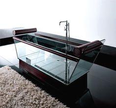 Moderna Bañera de Cristal y Cuero Milo