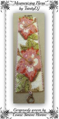 """Mesmerizing Flora"" was gorgeously stitched by Louise Simone Hearne. Thanks for sharing your beautiful bracelet, Louise. For the pattern, please follow this link: https://www.etsy.com/listing/156170813/bp-flo-080-mesmerizing-flora-even-count"