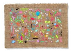 Scatterings Two: abstract embroidered wall by ElizabethPawle