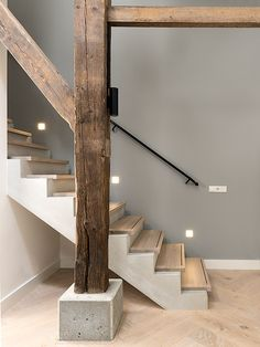 Pin by Leda Steegen on Home Exterior Design, Interior And Exterior, Rustic Stairs, Barn Kitchen, House Stairs, Farmhouse Interior, Industrial House, House Goals, Home Deco