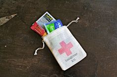 Hangover Kit favor bags, muslin, 2x4. Set of 10. DIY Hangover Kit, first aid for wedding guests.  Bachelor or bachelorette party favor.