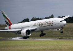 Emirates Boeing 777-31H/ER A6-EBX catching a strong gust of crosswind and making a mess of the landing at Birmingham-International, June 2008. (Photo: Martin Hartland)