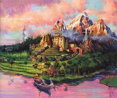 Early concept artwork for Expedition Everest at Disney's Animal Kingdom, Walt Disney World