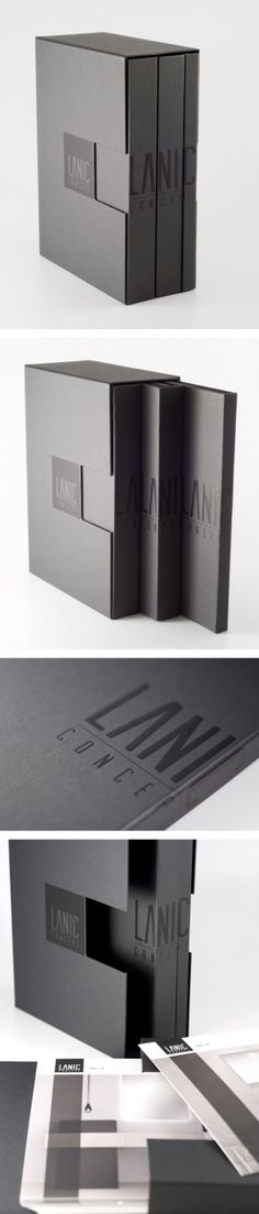 Brand design for a new bathroom furniture company. Hot foil stamp on a black Fedrigoni paper. The interior boxes keep closed by a magnet.