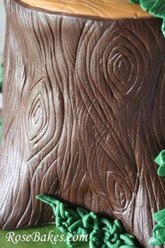 Tree Stump Birthday Cake -nice bark with limited instruction