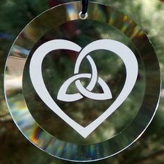 "Triquetra and Heart Celtic Knot 4"" Glass Suncatcher / Ornament"