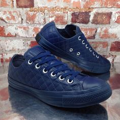 72153788788f Converse All Star Mens Quilted Leather Trainers Blue size 6 Shoes Womens US  8 39