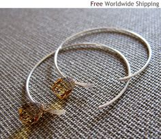 Amber Swarovski Hoop Dangle Earrings Elegant by NadinArtDesign, $27.00