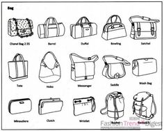 Here is a great chart for types of #bags. #ilovetobeselling