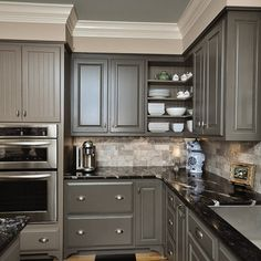 Gray Cabinets Black Counters Slate Herringbone Floor Marble Hex - Gray cabinets black granite