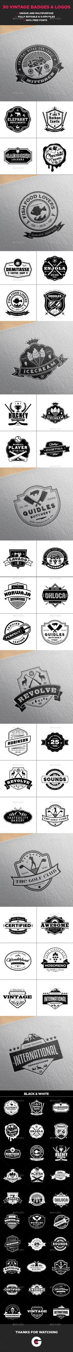 30 Vintage Logo Collection Volume 4 - Badges & Stickers Web Elements