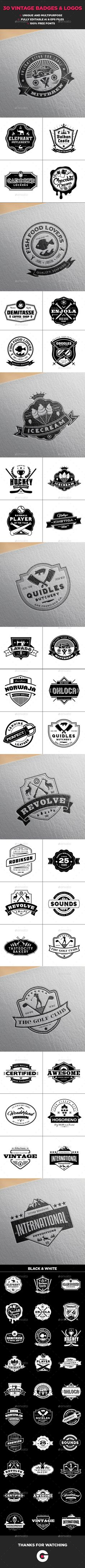 30 Vintage Logo Collection Vector EPS, AI Illustrator