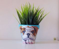 Hey, I found this really awesome Etsy listing at https://www.etsy.com/listing/215455714/dog-flower-pot-dog-portrait-dog-painting