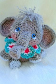 """Simply Cute Elephant   Craftsy ~ finished size is 11"""" ~ another great pattern by Teri Crews ~ so adorable! ~ basic skills necessary for this little guy ~ CROCHET"""