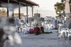 Enjoy the sophisticated tables decoration in Antonis Taverna - Alexander the great Beach Hotel - Beach Hotels, Hotels And Resorts, Halkidiki Greece, Alexander The Great, Great Hotel, Thessaloniki, Tables, Table Decorations, Home Decor