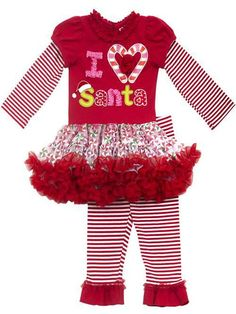 Little Girls Christmas Outfit - Striped