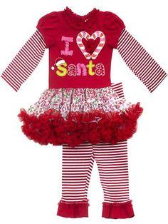 "Little Girls Christmas Outfit - Striped ""I Heart Santa"" Tutu Legging Set"