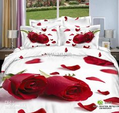 Wholesale Bed In a Bag - Buy New Free Shipping 4pcs Cotton Reactive Red Rose Flower White Printed Queen Bedlinen Bedding Set, $90.22 | DHgate