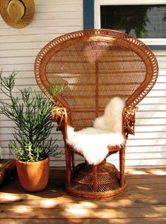 Original Iconic 1970's Wicker Peacock Chair by BungalowTwelveShop