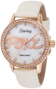 """Stuhrling Original Women's 519P.1145P7 Vogue Audrey Peace Swiss Quartz Mother-Of-Pearl Dial Swarovski Crystal White Watch Stuhrling Original. $59.00. White satin twill covered leather strap with buckle clasp. Water-resistant to 165 feet (50 M). White Mother-Of-Pearl dial with swarovski markers. """"Peace"""" applied with swarovski crystals on dial and """"Peace"""" sign engraved in case back. Round-shaped 16k rose-gold layered case with swarovski set bezel"""