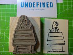 Kreatives Herzerl: Snoopy - selbst geschnitzter Stempel