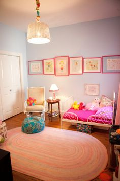 Eclectic Hot Pink and Blue Toddler Room: Change out the Hot Pink for Electric/Neon Orangey Coral and you've won me over!