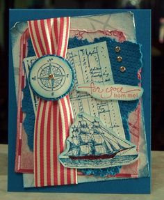 Men Occasion Card using Stampin Up The Open Sea by WhimsyArtCards, $5.00