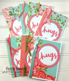 I was making a stack of Note Cards with the Stampin' Up! Petal Garden paper stack (pg 187, #144168) and realized how many of the new ribbon designs coordinated with this designer paper!! I could not