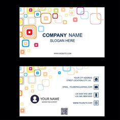 business card abstract squares white background