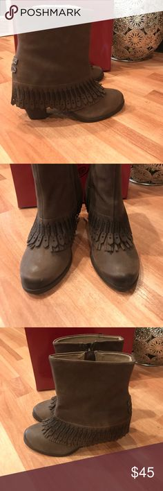 "Naughty Monkey Fringe Ankle Boots 7.5 NEW Beautiful leather bootie with 3"" heel and Fringe. New in Box naughty monkey Shoes Ankle Boots & Booties"