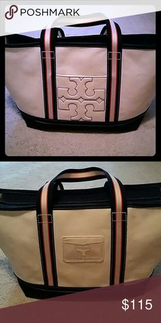 Tory Burch Bombe-T Canvas Large Tote Authentic. Very gently used. Minimal signs of wear. Tory Burch Bags Totes